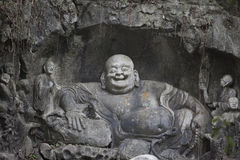 Mile Fo (happy buddha) statue in Hangzhou temple Stock Photo