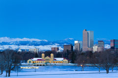 Mile High City of Denver. A view of downtown Denver before sunrise stock image