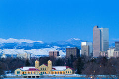 Mile High City of Denver. A view of downtown Denver before sunrise royalty free stock images