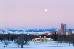 Mile High City of Denver. A view of downtown Denver before sunrise royalty free stock photo