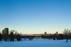 Mile High City of Denver. A view of downtown Denver before sunrise stock photos