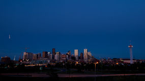 Mile High City of Denver by night Royalty Free Stock Images