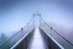 The Mile-High Swinging Bridge in fog, at Grandfather Mountain, N Stock Photo
