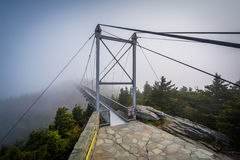 The Mile High Swinging Bridge in fog, at Grandfather Mountain, N Royalty Free Stock Images