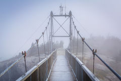 The Mile High Swinging Bridge in fog, at Grandfather Mountain, N Royalty Free Stock Photos
