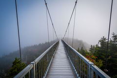 The Mile High Swinging Bridge in fog, at Grandfather Mountain, N Royalty Free Stock Photo