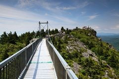 Mile High Swinging Bridge Linville NC. Tourists visit Grandfather Mountain near Linville, NC, known for its mile-high swinging bridge, the highest in America Stock Photography