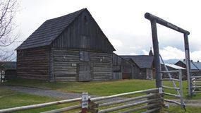 108 Mile House British Columbia, Canada. Highway 97 108 Mile House and Ranch Museum Log Building in British Columbia, Canada Photograph taken in April 2017 stock images