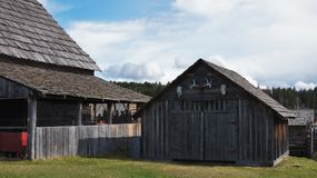 108 Mile House British Columbia, Canada. Highway 97 108 Mile House and Ranch Museum Log Building in British Columbia, Canada Photograph taken in April 2017 royalty free stock images