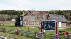 108 Mile House British Columbia, Canada. Highway 97 108 Mile House and Ranch Museum Log Building in British Columbia, Canada Photograph taken in April 2017 stock photography