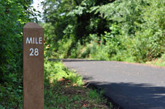 Mile marker along a biking path Stock Photos