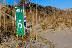 Mile marker on the beach. Dunes Royalty Free Stock Photos