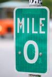 Mile nolla undertecknar i Key West, Florida Fotografering för Bildbyråer