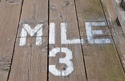 Mile 3 Painted On Boardwalk Stock Photo
