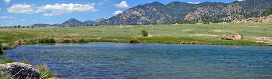 10 Mile Panoramic. Reservoir in South Park Valley, Colorado stock image