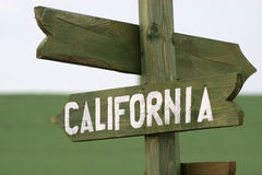 Mile signpost to California Stock Image