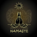Mile widziany gest ręki Indiański kobieta charakter w Namaste Obrazy Royalty Free
