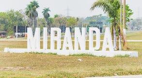 Mile widziany rzeźba z imieniem Miranda miasto Zdjęcia Royalty Free