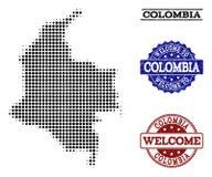 Mile widziany skład Halftone mapa Kolumbia i Drapać foki ilustracji