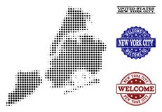Mile widziany skład Halftone mapa Miasto Nowy Jork i cierpienie foki ilustracja wektor