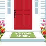 Mile widziany wiosna dzwi wejściowy z tulipanami ilustracji