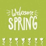 Mile widziany wiosna tekst na zielonym textured tle i ręka rysującym tulipanie kwitnie samochodu prowadnikowa ekologii faceta hyb ilustracji