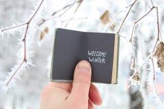 Mile widziany zimy kreatywnie pojęcie Rezerwuje z tekstem i gałąź zakrywającymi z hoarfrost Zdjęcia Stock