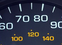 Mileage. A vehicles speedometer gauge shown in kilos and miles per hour royalty free stock images