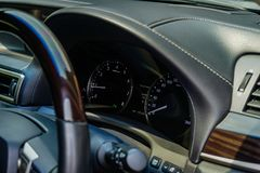 Mileage car , Steering wheel and Dashboard the inside of the car royalty free stock photography