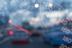 Mileage Cars. On traffic blur background Royalty Free Stock Image