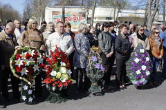 Mileage in city Vetka, Gomel oblast (Belarus), dedicated to the anniversary of the accident at the Chernobyl nuclear power plant A Stock Photos