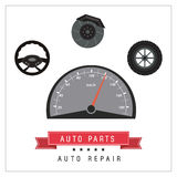 Mileage icon. Auto part design. Vector graphic. Auto parts and transportation concept represented by mileage icon. Flat and frame illustration Stock Images