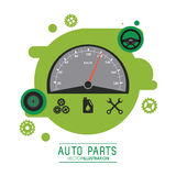 Mileage icon. Auto part design. Vector graphic. Auto parts and transportation concept represented by Mileage icon over splash shape. Flat illustration Royalty Free Stock Photography
