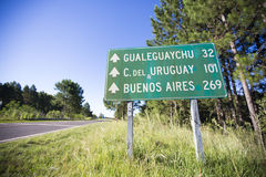 Mileage sign on the road with distances to Buenos Aires, Uruguay Royalty Free Stock Photo
