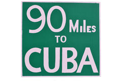 Mileage sign found in Key West Florida. Sign telling the miles left to reach Cuba from Key West Florida Royalty Free Stock Photos