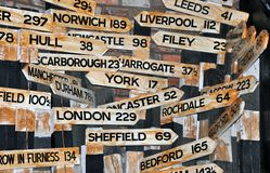 Mileage signposts royalty free stock image