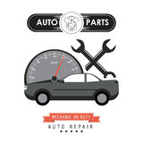 Mileage and wrench icon. Auto part design. Vector graphic. Auto parts and transportation concept represented by mileage and wrench icon. Flat illustration Stock Image