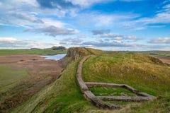 Milecastle 39, Hadrian的墙壁,诺森伯兰角,英国 免版税库存照片