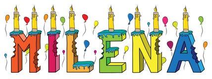 Milena θηλυκό κέικ γενεθλίων ονόματος δαγκωμένο ζωηρόχρωμο τρισδιάστατο γράφοντας με τα κεριά και τα μπαλόνια Στοκ φωτογραφία με δικαίωμα ελεύθερης χρήσης
