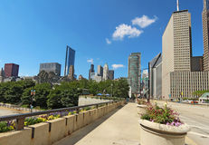 Milenium park i częściowa linia horyzontu Chicago Obraz Stock