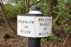 Milepost Along Canalside Public Footpath Royalty Free Stock Photography