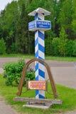 Milepost in the Museum of Pushkin Mikhailovskoe village Royalty Free Stock Photos