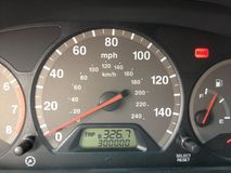 Age of 300,000 miles. Car odometer displaying sharp 300 thousand miles Royalty Free Stock Photo