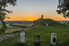 Miles Cemetery sur les bluffs du fleuve Mississippi en Monroe County L'IL Image stock