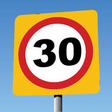 30 Miles Per Hour Traffic Sign Stock Afbeelding