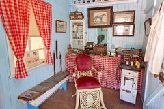 Barber Shop At Miles Museum And Historical Village. MILES, QUEENSLAND, AUSTRALIA - January 25th 2019: Miles Historical Village And Museum barber shop stock images