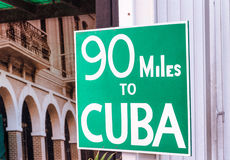 90 miles to Cuba famous street sign in Key West, FL Royalty Free Stock Image