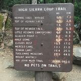 Miles to go before your destination. A sign on a hiking trail in Yosemite advises hikers on the distances to their destination Royalty Free Stock Photography