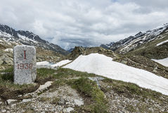 Milestone in the alps Royalty Free Stock Photo
