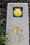 Milestone at at Camino de Santiago. Spain Royalty Free Stock Images